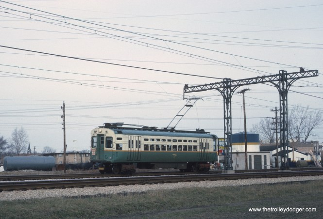 Chicago Transit Authority southbound Skokie Swift car south of Oakton St. in Skokie, IL on ex-CNS&M track on April 12, 1966