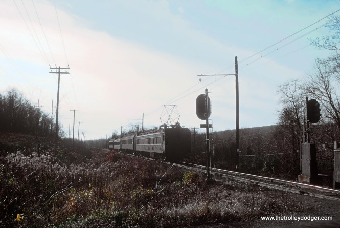 EL EMU westbound to Gladstone, NJ MU train on Gladstone branch... note parlor car in consist. Eastbound train # was 412 Gladstone to Hoboken weekdays only in November 1978