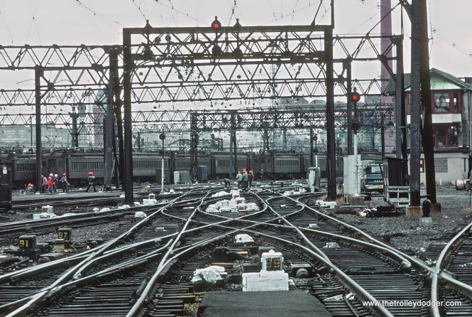 From the end of a platform in the Erie-Lackwanna Terminal at Hoboken, NJ in November 1978