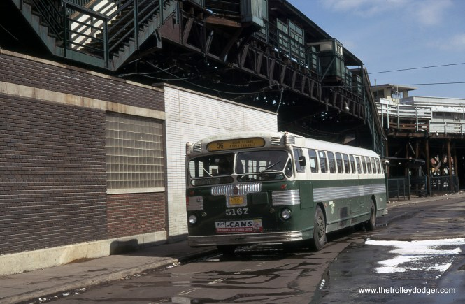 "CTA 5167 by the Logan Square ""L"" terminal, which closed in 1970."
