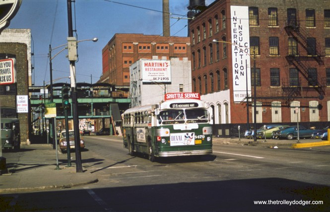 "CTA 8479 is on Grand Avenue, near the old ""L"" station, which closed in 1970."