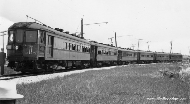 A six-car North Shore Line special train. This picture may date to the 1930s. I am not sure of the location, but this may also be where many of the cars were lined up for scrapping after the interurban was abandoned in 1963.