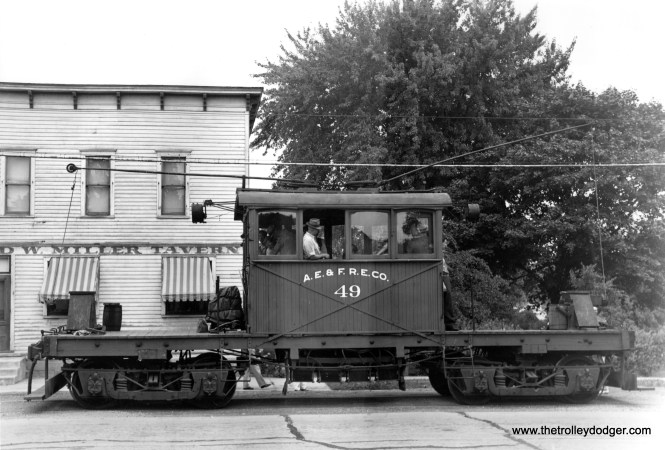 Aurora, Elgin & Fox River Electric car 49 in South Elgin, IL on August 6, 1944.