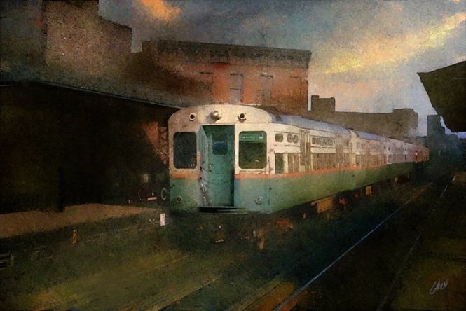 "FYI, someone has based a painting on a picture from my blog: ""A dramatic art illustration of a CTA Rapid Transit train on the Logan Square line at Damen in 1970. Illustration ©2021 Glenn Galen"" The original photo is from our post Thankful (November 24, 2020). If you are interested in purchasing prints of his work, go here."