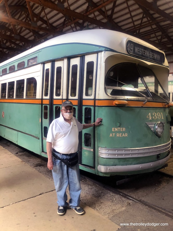 On September 5, 2020, Jeff made his last trip to the Illinois Railway Museum to participate in their annual meeting. Here he is with his beloved CTA 4391, the only surviving postwar Chicago streetcar. (Jose Martinez Photo)