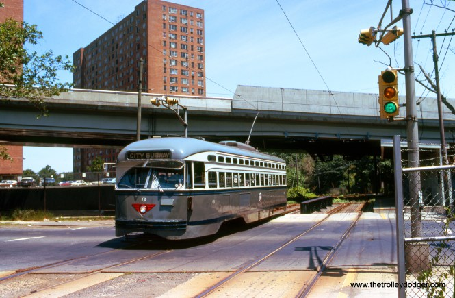 NJ Transit car 6 on the Newark City Subway in July 1975. After the PCCs were replaced in 2001, this car went to the Rockhill Trolley Museum. Sister car #4 (ex-Twin Cities Rapid Transit) is now at the Illinois Railway Museum. (Wien-Criss Archive)