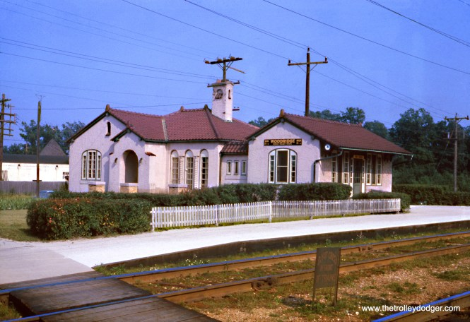 "The North Shore Line's Woodridge station in August 1962. This was one of several 1920s-era stations designed in ""Insull Spanish."" Only two such stations exist today, one of which is Beverly Shores on the South Shore Line. The Woodridge station was demolished after the North Shore Line shut down in 1963. (Wien-Criss Archive)"