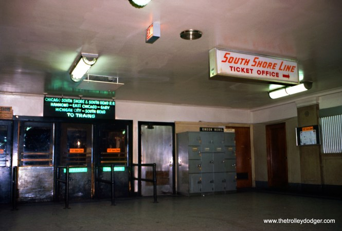 The entrance to the South Shore Line platforms at Randolph Street Station on August 4, 1974. This has since been completely modernized, and the neon sign is now at the Illinois Railway Museum. (Douglas N. Grotjahn Photo, Wien-Criss Archive)