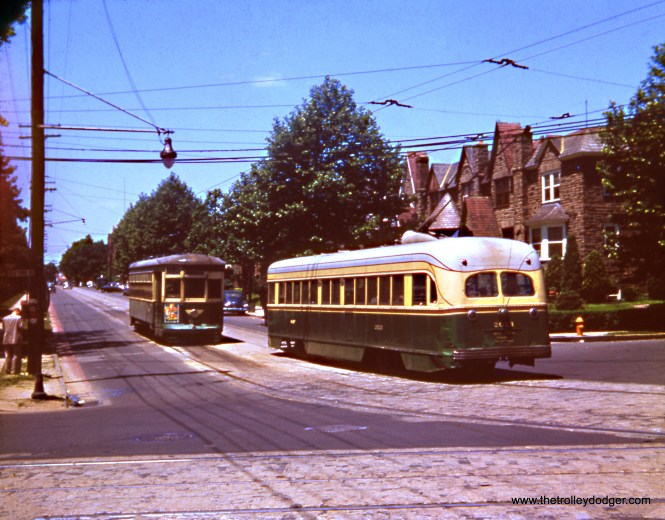 "Philadelphia Transportation Company Brilliner 2023 is on a charter trip at Chelten and Yorr Roads. There is a notation on this half-frame slide of ""Route 52."" The Brilliner was scrapped in August 1956, so this must be before then. (Wien-Criss Archive)"