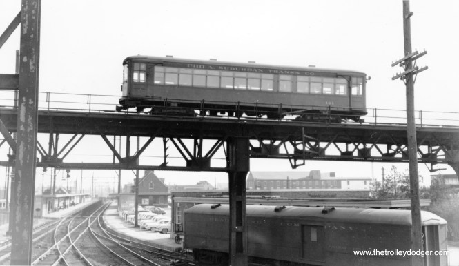 Philadelphia & Western Strafford car 161 at Norristown on December 27, 1958. It was built by Brill in 1927 and continued to operate until sometime between 1888 and 1990. It is now owned by the New York Museum of Transportation.