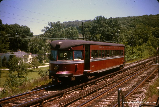 Philadelphia Suburban Transportation Company (formerly the Philadelphia & Western, aka Red Arrow) Bullet car 207 in July 1963. 207 was built by Brill in 1931, order #22932, as P&W 207. It became PST 207 in 1948 and SEPTA 207 in 1970. I understand it is now preserved at Seashore Trolley Museum in Maine. This car had extended wheelbase trucks and was tested up to 100 mph.
