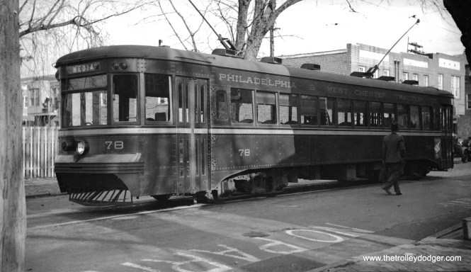 "Red Arrow (Philadelphia & West Chester Traction) car 78 in Media on December 2, 1935. This car was built circa 1931-32 by Brill and is known as a ""Master Unit."" It is now at the Pennsylvania Trolley Museum in Washington, PA."