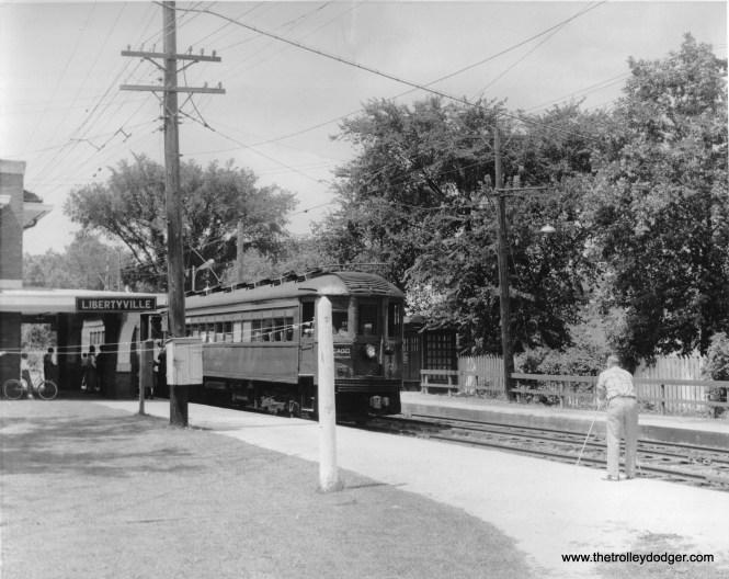 "NSL 710 at Libertyville on the Mundelein branch. Don's Rail Photos: ""710 was built by Cincinnati Car Co in 1924, (order) #2725. It was purchased by American Museum of Electricity in 1963 and resold to Connecticut Trolley Museum in 1972."""