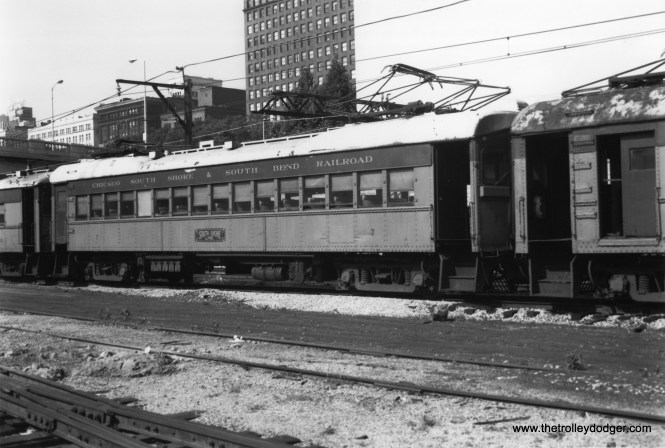 South Shore Line car 7 in downtown Chicago.