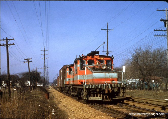 CA&E freight in Lombard on November 23, 1957. John Nicholson points out that with a passenger train in the distance, most likely the date is wrong. Perhaps it was really 1956.