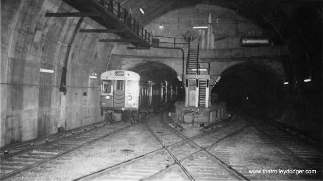 This picture was taken around the time the CTA Dearborn-Milwaukee-Congress Subway opened in 1951, and shows where trains crossed over and turned back near LaSalle Street, which was the end of the line until 1958, when the Congress median line opened.