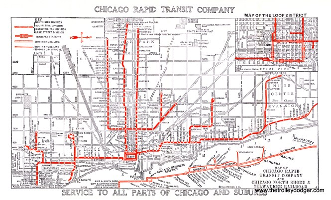 "I spent some time cleaning up this map in Photoshop today. I think it's interesting and a bit unusual, in that is also shows the North Shore Line stops on 63rd Street (service was eventually cut back to Roosevelt Road). When my new book Chicago's Lost ""L""s comes out, I think I will include a facsimile of this map, and the historical information on the backside, with every copy purchased directly from me."