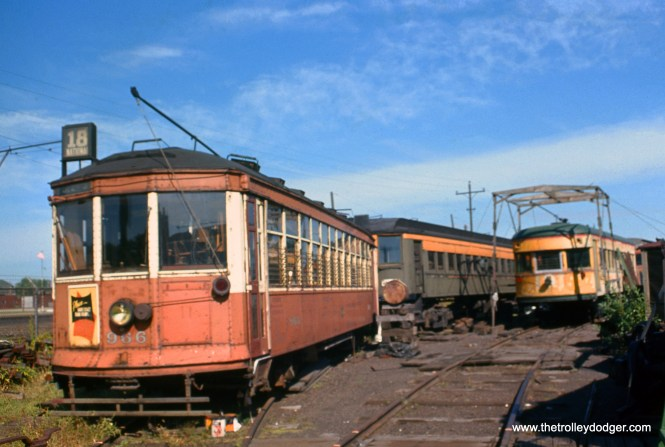 The Illinois Electric Railway Museum in North Chicago in September 1963, shortly before the collection was moved to its permanent location in Union. From left to right, we see Milwaukee streetcar 966, a Milwaukee Electric interurban car (either 1129 or 1135), and Indiana Railroad car 65.