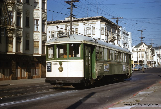 SF Muni 206 is on the C Line at 2nd Avenue and Cornwall in 1956. (Clark Frazier Photo)