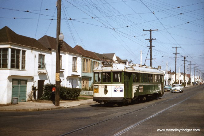 SF Muni 199 at 46th and Vicente on the L line on September 9, 1957. (Clark Frazier Photo)
