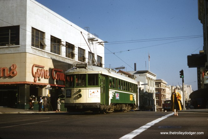SF Muni 195 on the C Line at Geary and Van Ness in January 1957. (Clark Frazier Photo)