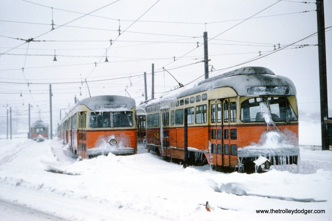 "Boston MTA 3311 and 3305 are stuck in the snow at Riverside after a ""Noreaster"" on March 4, 1960. (Clark Frazier Photo)"