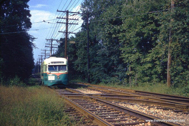 DC Transit 1566 inbound on Route 82 at Riverdale on September 1, 1958. (Clark Frazier Photo)