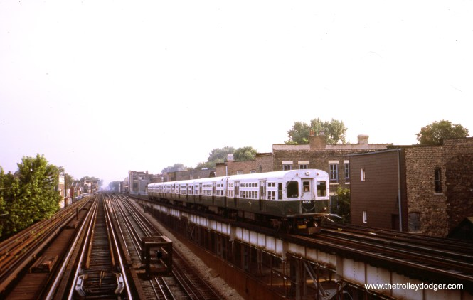 CTA 6053 is at the rear of a northbound Ravenswood All-Stop train approaching Armitage in August 1986. The two center tracks lead down to the State Street Subway. (William Shapotkin Collection)