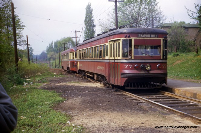 "Red Arrow Brill-built ""Master Unit"" 77, signed for the Sharon Hill line, in the early 1950s. This car, built in 1932, has been preserved, but the last report I have is that it is stored inoperable by the Middletown and Hummelstown Railroad."