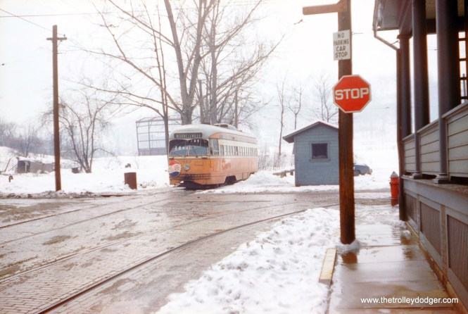 Johnstown, PA was the smallest city to operate PCC cars, and was a favorite of photographers, but I don't recall seeing a lot of winter pictures. Here, Johnstown Traction 412, with its distinctive Pepsi bottlecap advertising on the front, is at the Roxbury Loop on March 14, 1959. Streetcar service ended the following year. (Bill Volkmer Photo)