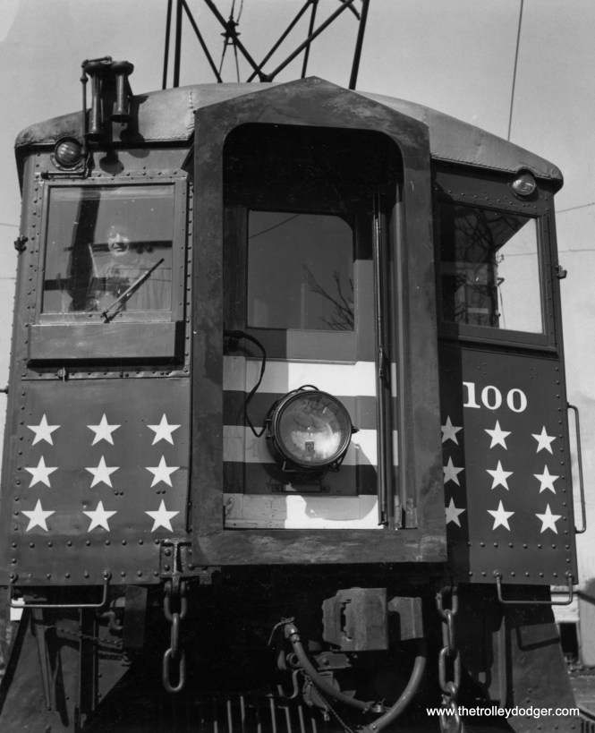 South Shore Line car 100 wore patriotic colors during World War II, and helped promote the sale of War Bonds. A different picture of this car appeared in my 2017 book Chicago Trolleys.