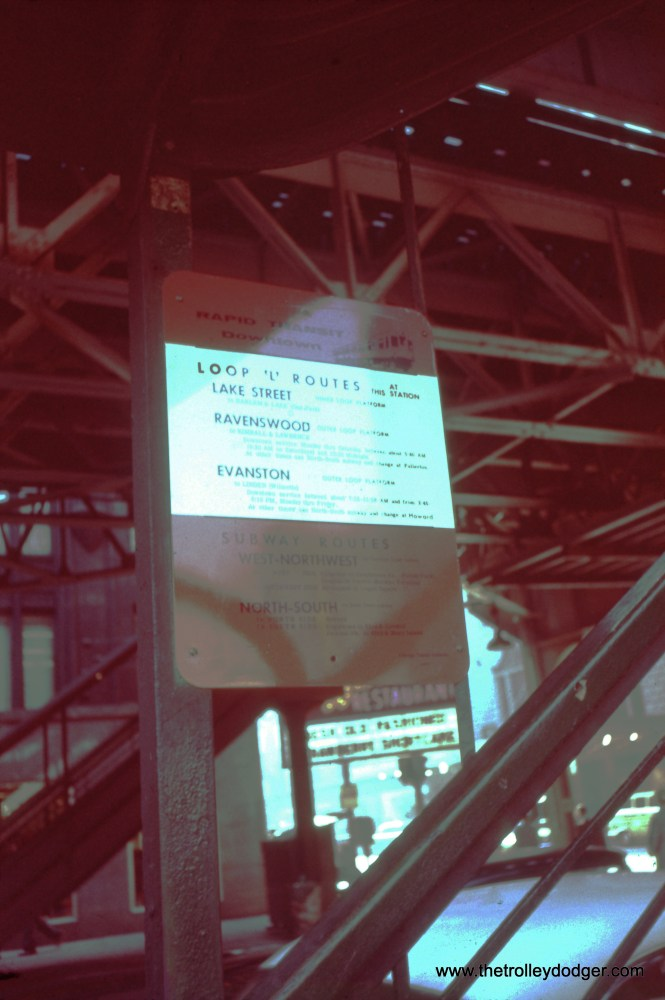 A CTA rapid transit sign at Randolph and Wells on May 12, 1961. This was a difficult one to correct, as I really have no idea what color this sign was. (William C. Hoffman Photo)