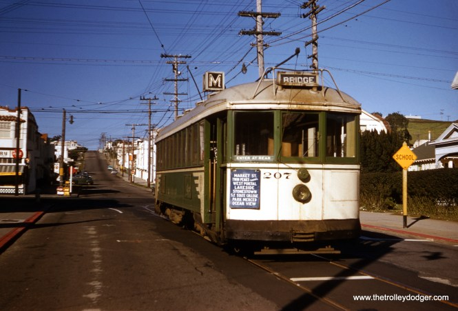"""This Clark Frazier photo of San Francisco Muni """"Iron Monster"""" 207 was processed in March 1958, which is about when Kodak started date-stamping slide mounts. This is surely among the last photos of this car in service. 207 has just changed ends in a then-new wye at the end of the M line."""