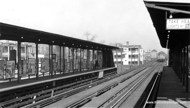 """61st Street on the South Side """"L"""", looking north on November 13, 1944."""