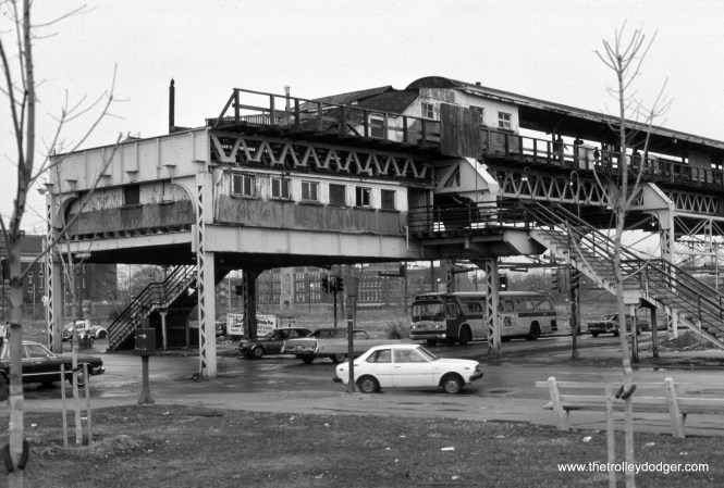 """CTA 7616 63rd-Stony Island (east terminal of the Jackson Park """"L"""") in 1974."""