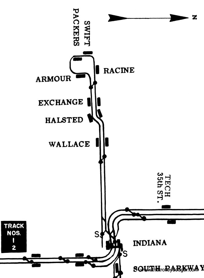 """A track map showing the Stock Yard branch, which operated as a shuttle starting at Indiana Avenue on the South Side """"L"""". It didn't really have an end of the line, since part of the line ran in a single-track loop."""