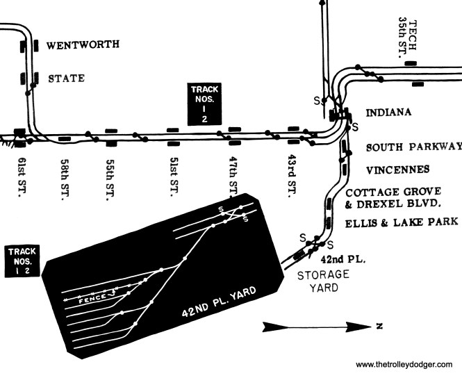"""A track map of the Kenwood branch, which ran between Indiana Avenue and 42nd Place. It branched off the South Side """"L""""."""