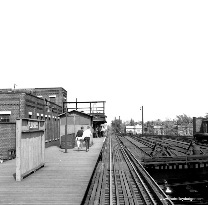 """The Pulaski station on the Douglas Park """"L"""" on May 10, 1958. There was a yard there at the time. This was once the western terminus of Douglas, and the curved track visible here was part of a turning loop. (Lawrence H. Boehuring Photo)"""