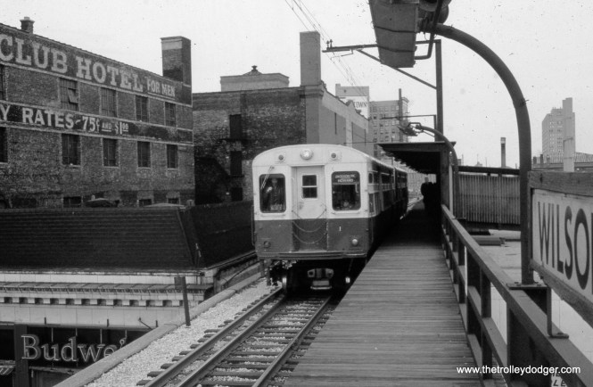 The view looking the other way from the platform at Wilson that opened around 1960 (this picture taken in April 1973).