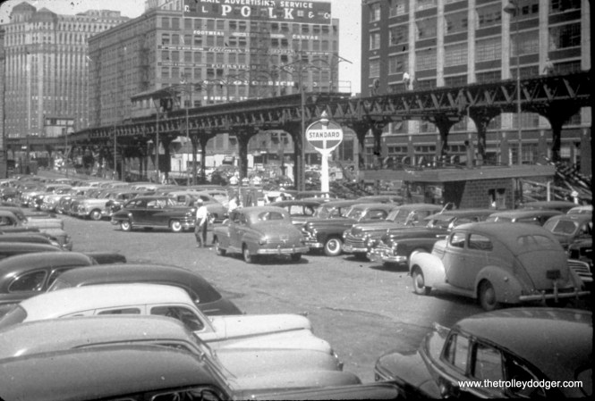 """Here, the old Market Street Stub, formerly used by Lake Street """"L"""" trains, is being dismantled in 1948. (William C. Hoffman Photo)"""