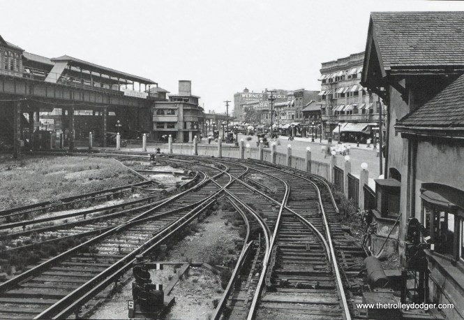 The view looking north from the Wilson Avenue Lower Terminal between 1909 and 1922, showing the Stohr Arcade Building at the intersection of Wilson and Broadway. (Krambles-Peterson Archive)