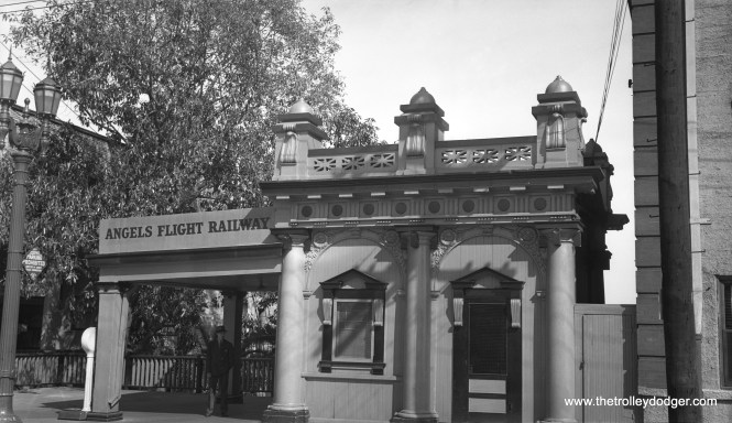 The entrance to the high point of the Angel's Flight Railway, a funicular on the side of a hill in Los Angeles, prior to when this operation was closed in 1969, dismantled, and put into storage for many years. It has since been relocated and reopened. This hill was a victim of a redevelopment project.