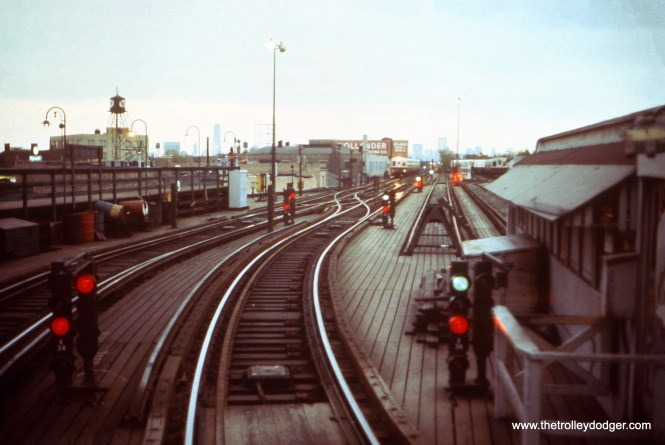This undated photo by the late Mel Bernero was taken at the old CTA Logan Square terminal, looking east.