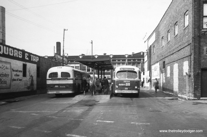 """This photo came without any identification, but it shows the CTA off-street loop at Halsted near 79th Street, some time after buses replaced streetcars on Route 8 in 1954. Andre Kristopans: """"Bus at 79th Halsted terminal is a 42B South Halsted, arriving from 127th Street. The bus facing other direction is an 8 or a 42 northbound."""" Route 42 was discontinued in 1993, upon the opening of the new Orange Line rapid transit route."""