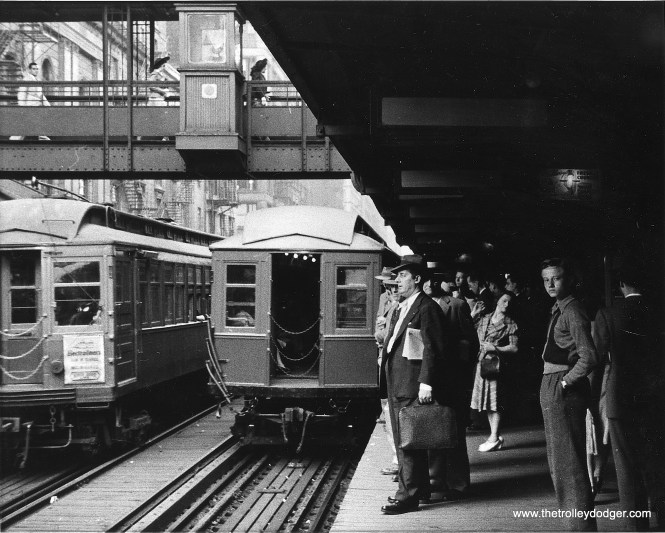 """In this view at Adams and Wabash station circa 1939, we see the rears of two """"L"""" cars that are both heading away from us, as both Loop tracks then ran in a counter-clockwise direction. The train at left is a Lake Street """"L"""", while the one at right may have been working in north-south service. (Chicago Transit Authority Historical Collection)"""