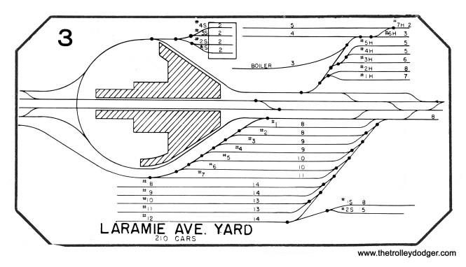 """As you can see here, the Garfield """"L"""" ran straight east and west through Laramie Yard between Laramie (5200 W.) and Lavergne (5000 W.). (From a CTA track map dated October 1955.)"""