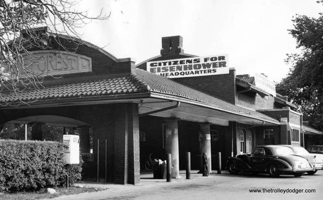 After the North Shore Line abandoned service on the Shore Line Route in 1955, their former Lake Forest station was used as a campaign headquarters in the 1956 presidential election. (Chicago Tribune Photo)