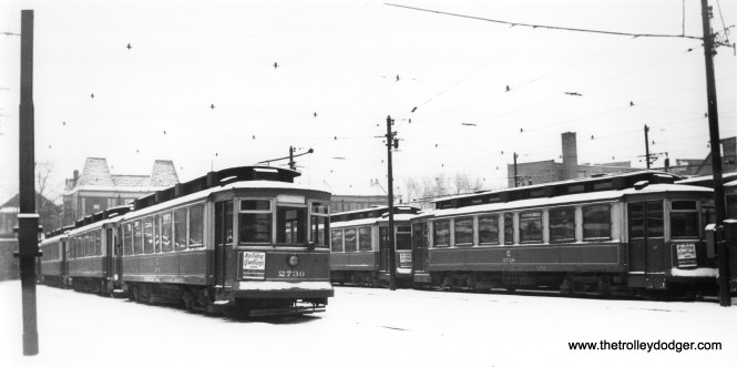 """CSL 2730 and 2728. (Joe L. Diaz Photo) Andre Kristopans: """"Open yard on west side of Lincoln carhouse looking south."""""""