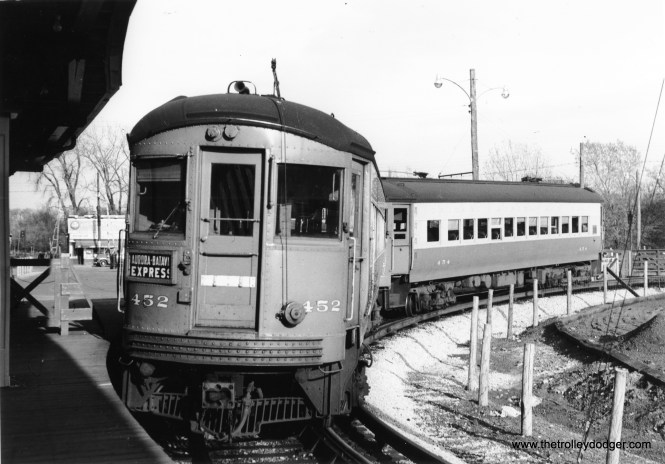CA&E 452 and 454 at the DesPlaines Avenue terminal in Forest Park, between 1953 and 1957.