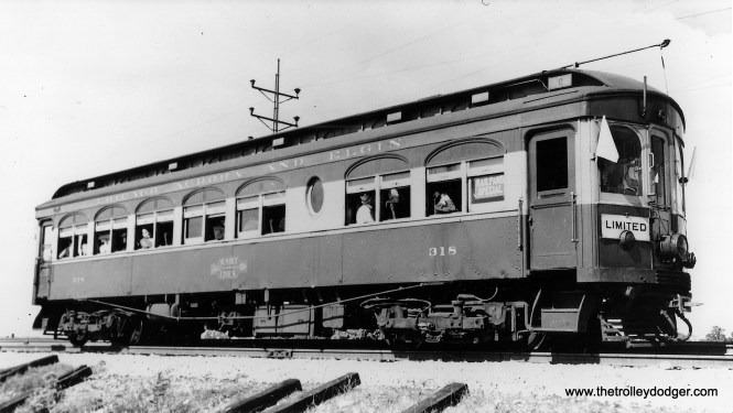 """Chicao Aurora &Elgin wood car 318. Don's Rail Photos: """"318 was built by Jewett Car Co in 1914. It had steel sheating and was modernized in 1944. It was sold to Wisconsin Electric Railway Historical Society in 1962. It was wrecked in transit and the parts were sold to IRM to restore 321."""" (Joe L. Diaz Photo)"""